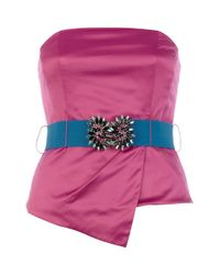 River Island Pink Asymetric Satin Jewelled Bustier