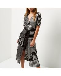 River Island Black Striped Tie Waist Midi Dress