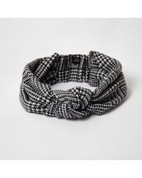 River Island - Black Dogtooth Check Knit Head Band Black Dogtooth Check Knit Head Band - Lyst