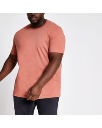 River Island Big And Tall Light Brown Slim Fit T-shirt for men