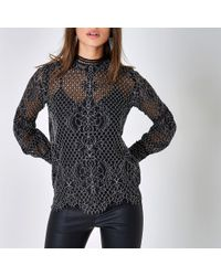 River Island Black Lace High Neck Long Sleeve Top