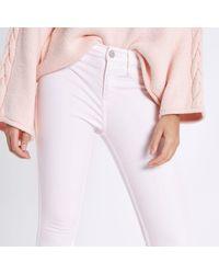 River Island Pink Light Wash Amelie Super Skinny Jeans