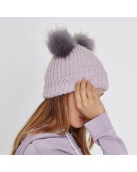 River Island - Light Purple Double Pom Pom Beanie Hat Light Purple Double Pom Pom Beanie Hat - Lyst