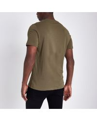 River Island Green Rose Chest Embroidered Slim Fit T-shirt for men