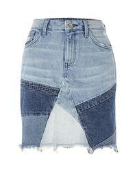 River Island - Blue Patchwork High Waisted Mini Denim Skirt - Lyst