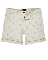 River Island Natural Beige Palm Tree Print Turn Up Shorts for men