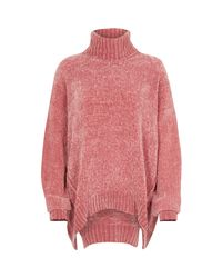 River Island Pink Chenille Knit Oversized Roll Neck Jumper