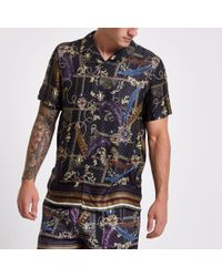 River Island Black Gold Print Short Sleeve Shirt for men