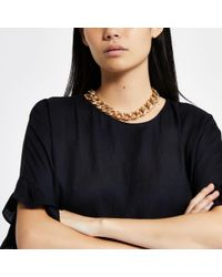 River Island - Metallic Tone Chunky Chain Necklace - Lyst