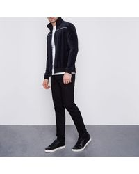 River Island - Blue Navy Only & Sons Velour Zip Up Jacket Navy Only & Sons Velour Zip Up Jacket for Men - Lyst