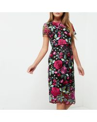 River Island Pink Wedding Guest Dress Embroidered Floral Mesh Dress
