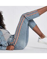 River Island Blue Casey Side Stripe Slim Fit Jeans