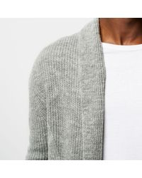 River Island Gray Ribbed Wool Blend Cardigan for men
