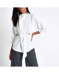River Island White Eyelet Tie Up Front High Neck Top