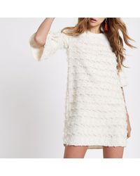 River Island - White Jacquard Geo Print Swing Dress - Lyst