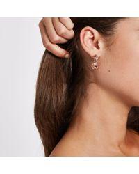 River Island - Metallic Rose Gold Mini Jewel Drop Stud Earrings - Lyst