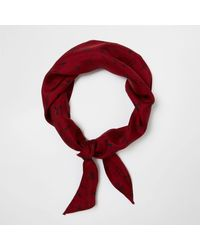 River Island Red Doodle Print Neck Scarf