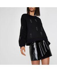 River Island Black Sequin Tassel Embellished Sweatshirt