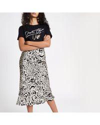 78274c92a6 River Island Mono Print Midi Skirt in Black - Lyst