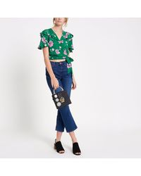 River Island Green Floral Frill Wrap Tie Side Crop Top