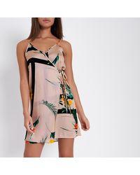 339947636a Lyst - River Island Beige Floral Print Mini Slip Dress in Natural