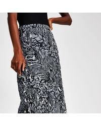 River Island Gray Print Embellished Midi Skirt