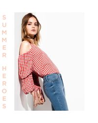 River Island Red Gingham Cold Shoulder Puff Sleeve Top