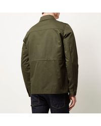 River Island - Khaki Green Casual Minimal Worker Jacket for Men - Lyst