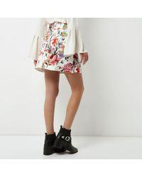 River Island Multicolor Cream Floral Print Mini Skirt