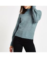 f9473eab12c2c8 River Island Turtle Neck Bell Sleeve Knit Jumper in Blue - Lyst