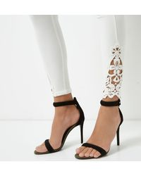 River Island White Crochet Hem Ponte leggings