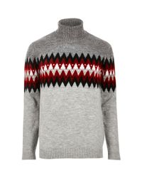 River Island - Gray Grey Aztec Roll Neck Jumper for Men - Lyst