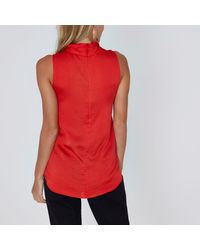 River Island Red Wrap Neck Sleeveless Top