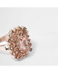 River Island - Multicolor Rose Gold Tone Orange Jewel Ring - Lyst
