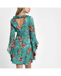 River Island Blue Floral Frill Front Cut Out Back Dress