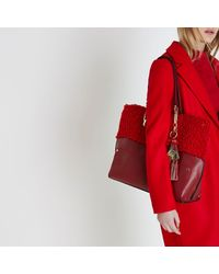 River Island - Red Borg Oversized Chain Shopper Bag Red Borg Oversized Chain Shopper Bag - Lyst