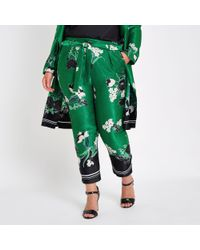 River Island Green Plus Floral Tapered Trousers