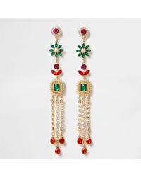 River Island - Metallic Gold Tone Multi Colour Gem Dangle Earrings Gold Tone Multi Colour Gem Dangle Earrings - Lyst