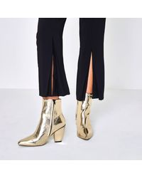 River Island Yellow Gold Metallic Pointed Cone Heel Boots