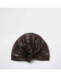 River Island - Yellow Gold Textured Knot Front Turban Hat Gold Textured Knot Front Turban Hat - Lyst