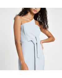 River Island Blue Light Bandeau Bodycon Midi Dress