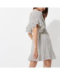 River Island - Blue White Stripe Frill Sleeve Tea Dress - Lyst