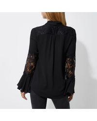 River Island Black Lace Insert Flared Sleeve Blouse