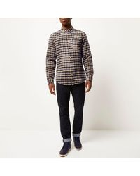 River Island Mustard Yellow Check Flannel Shirt for men