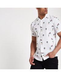 a348ac602d Lyst - River Island Only   Sons White Slim Fit Short Sleeve Shirt in ...
