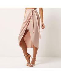 River Island Light Pink Satin Wrap Midi Skirt