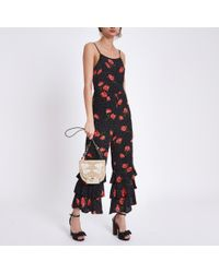 River Island Black Floral Print Tiered Frill Cami Jumpsuit