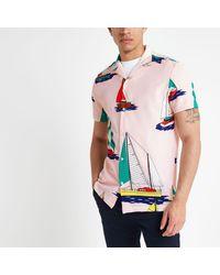 River Island Pink Boat Print Short Sleeve Shirt for men