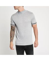 44e859fa90d River Island Slim Fit Turtle Neck Short Sleeve Jumper in Gray for ...