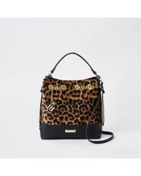 ee21510a42 River Island Dark Leopard Print Bucket Bag in Brown - Lyst